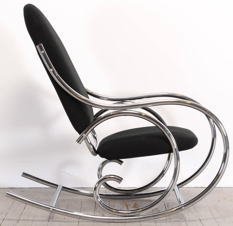 Italian Thonet Style Chrome Rocking Chair, 1970s