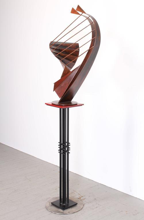 Modern Signed Sculpture on Pedestal by Robert Roesch, 1986-Barbara Hepworth Style