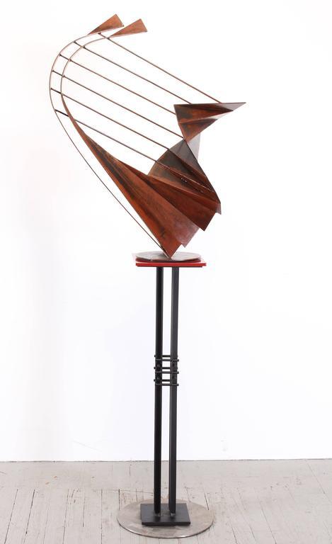 Steel Signed Sculpture on Pedestal by Robert Roesch, 1986-Barbara Hepworth Style
