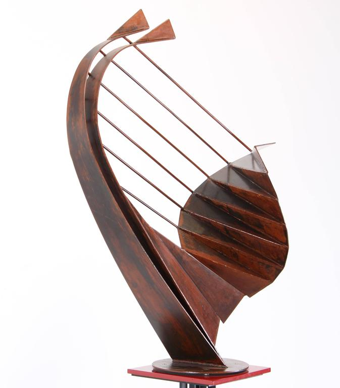 Signed Sculpture on Pedestal by Robert Roesch, 1986-Barbara Hepworth Style 1