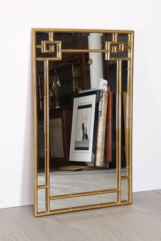 Solid Brass Mastercraft Greek Key Mirror, 1970s 2