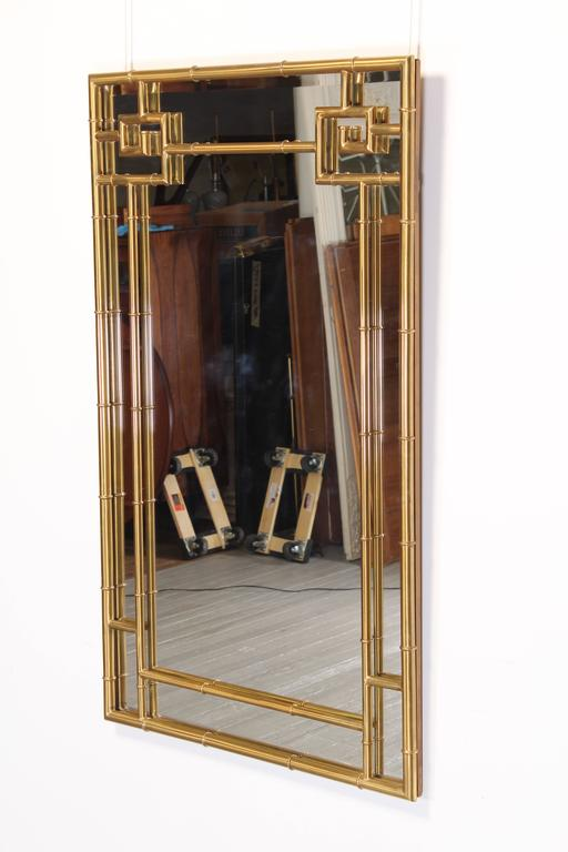 Solid Brass Mastercraft Greek Key Mirror, 1970s 3