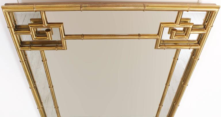 Solid Brass Mastercraft Greek Key Mirror, 1970s 4