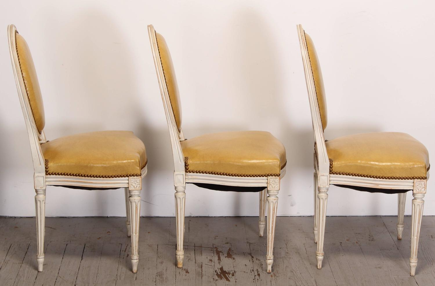 Painted Set Of Six Louis XVI Style Dining Chairs 1950s For Sale At 1stdibs