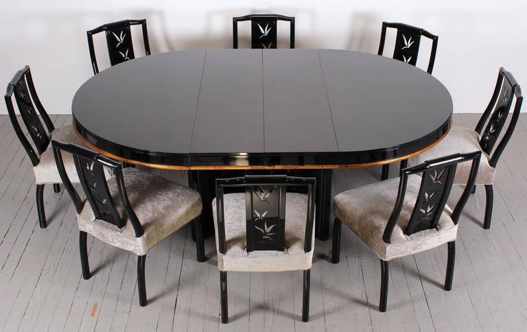James mont dining table with eight chairs asian modern for Oriental dining room furniture for sale