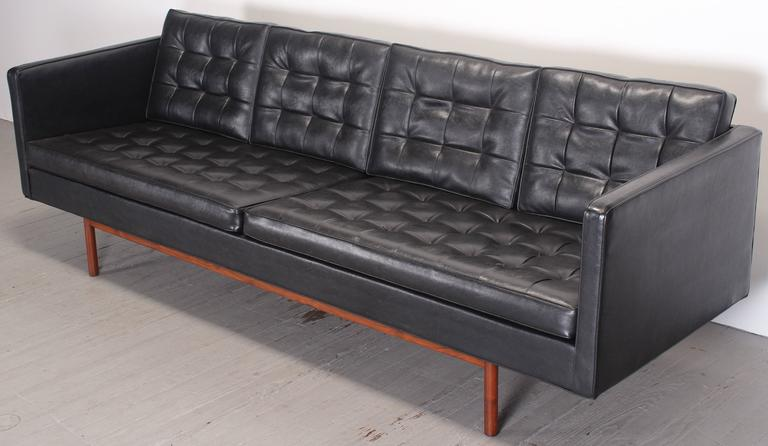 American Modern Milo Baughman for Thayer Coggin Black Vinyl Sofa, 1960s For Sale