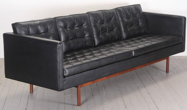 American Milo Baughman for Thayer Coggin Black Vinyl Sofa, 1960s For Sale