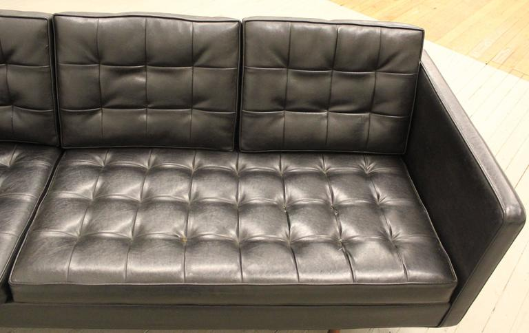 Mid-20th Century Milo Baughman for Thayer Coggin Black Vinyl Sofa, 1960s For Sale