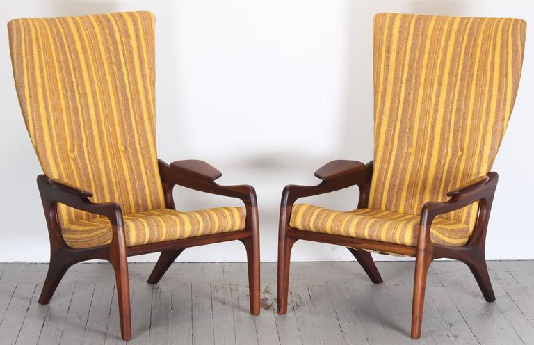 Pair of Original Adrian Pearsall Wingback Chairs, 1960s 2