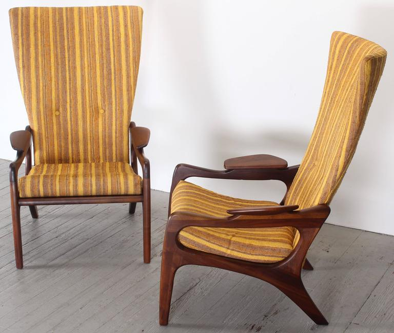 Pair of Original Adrian Pearsall Wingback Chairs, 1960s 3