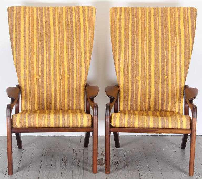 Pair of Original Adrian Pearsall Wingback Chairs, 1960s 4