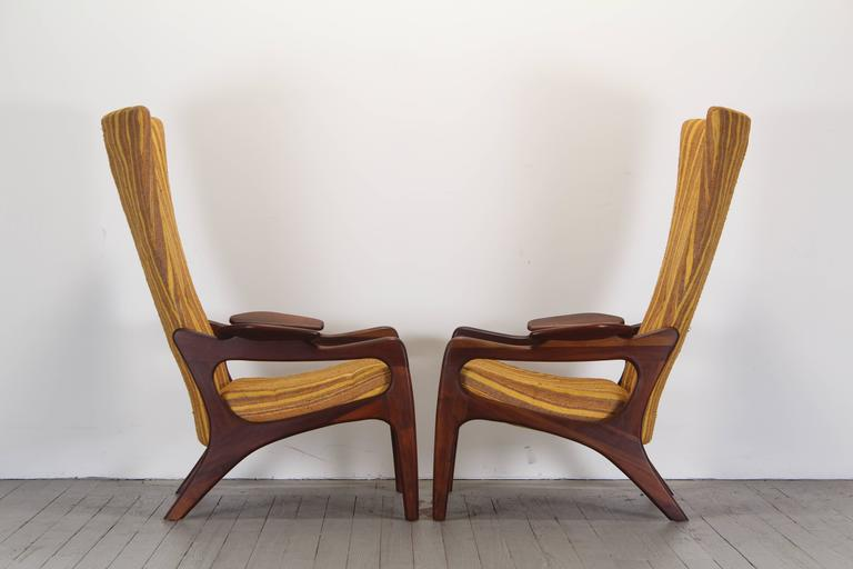 Pair of Original Adrian Pearsall Wingback Chairs, 1960s 5