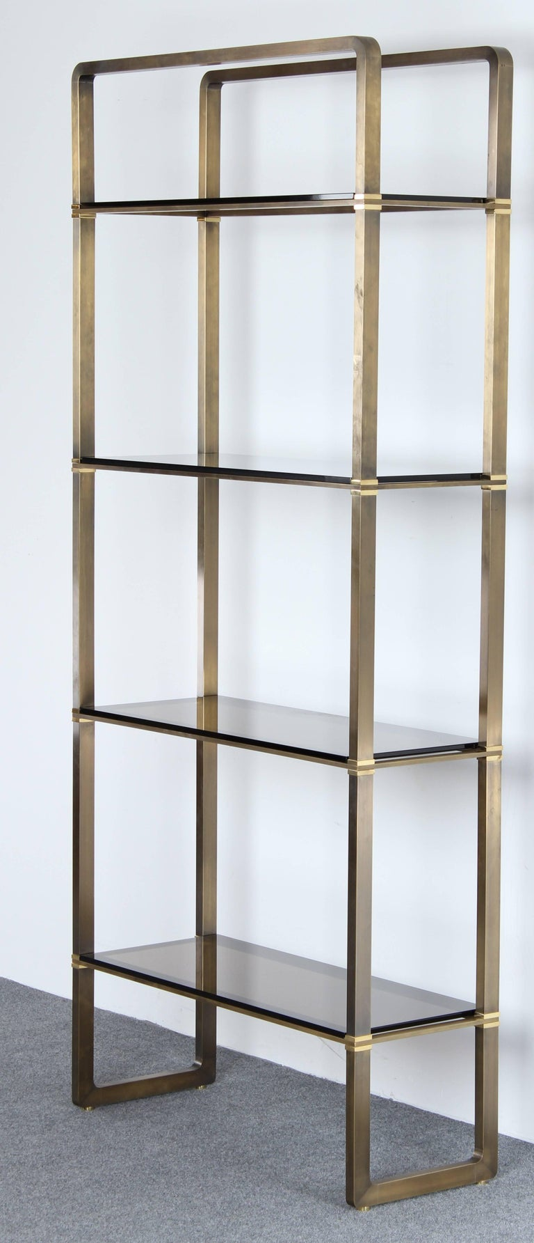 Mid-Century Modern Paul M Jones Bronze and Glass Etagere or Display Shelf, 1960 For Sale