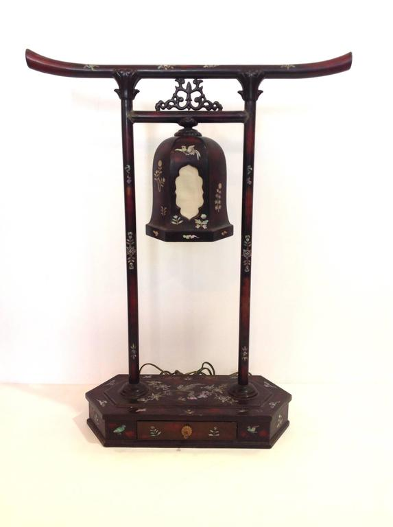 japanese bronze torii lamp with mother of pearl for sale. Black Bedroom Furniture Sets. Home Design Ideas