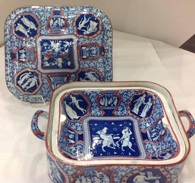 Spode Greek Pattern Clobbered Large Dinner Set For Sale At
