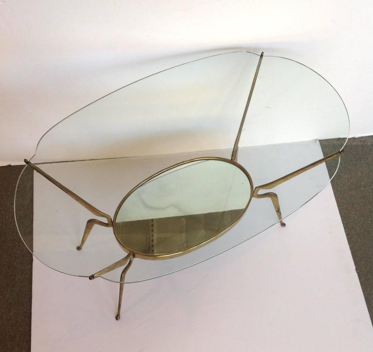 Oval Glass Coffee Table Attributed To Ico Parisi For Sale