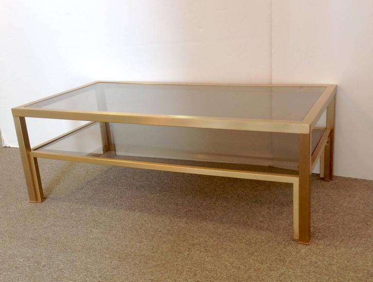 Square Gold Coffee Table Smoked Glass Pierre Vandel