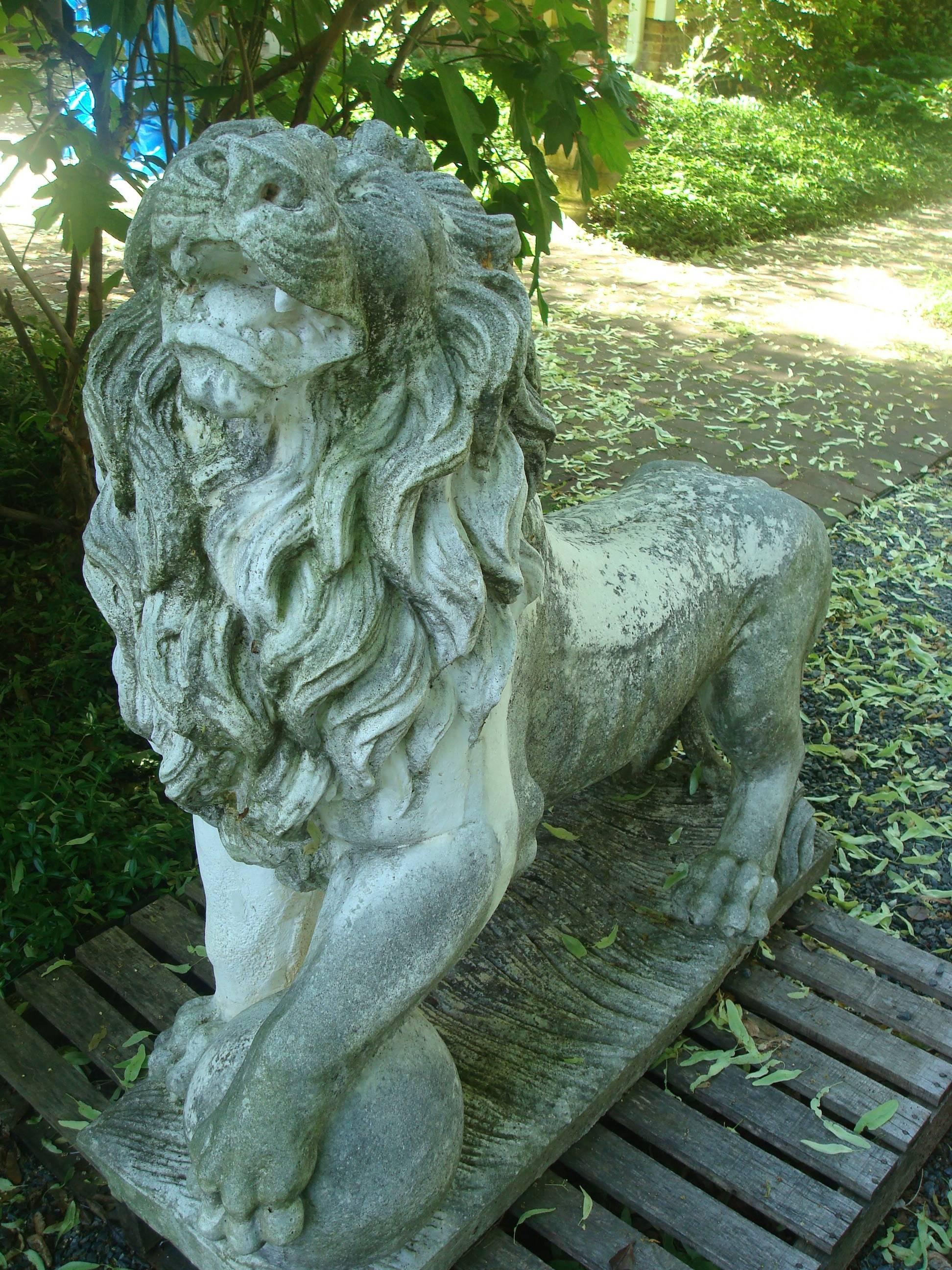 Classical Roman Lion Statues For Garden, Vintage Cast Stone For Sale
