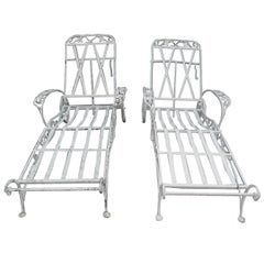 Salterini Chaise Lounges, a Set of Four Mt Vernon Pattern in Wrought Iron