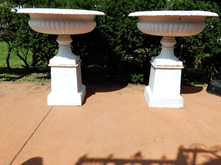 Late Victorian Cast Iron Pair of Garden Urns For Sale