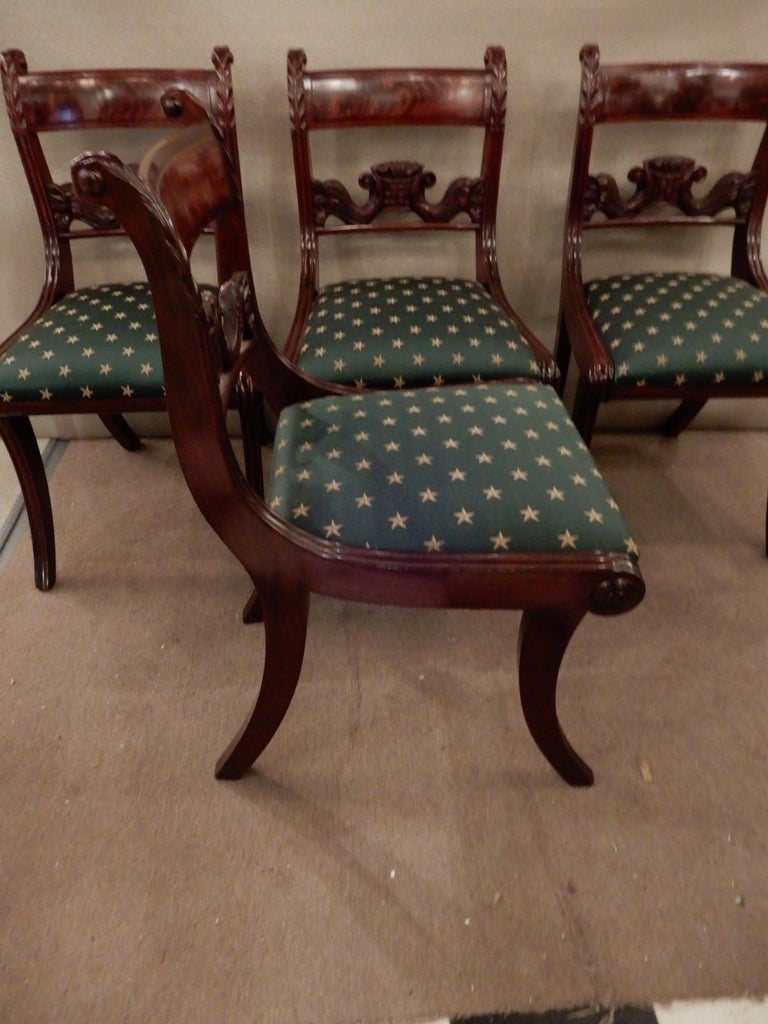 Mahogany Chairs American Classical NY Dining Set of 4 For Sale