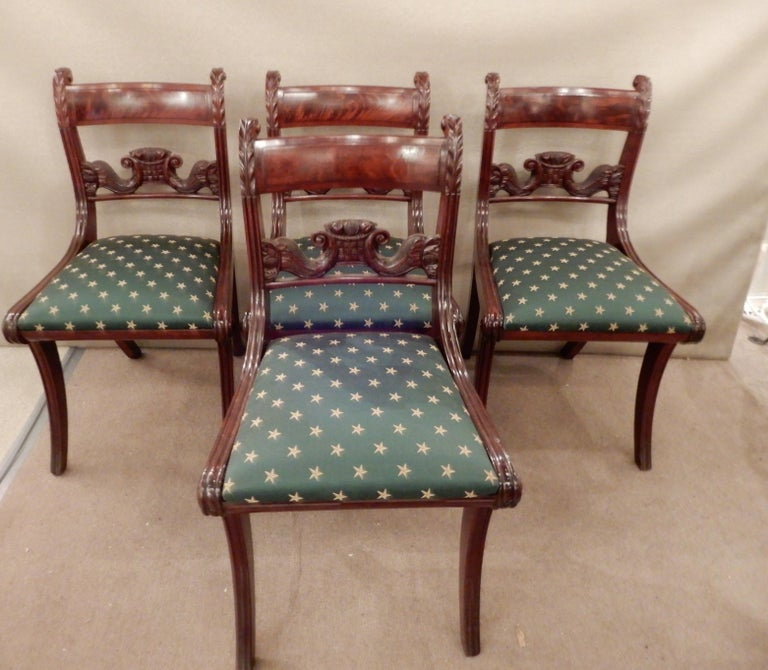 Carved Chairs American Classical NY Dining Set of 4 For Sale