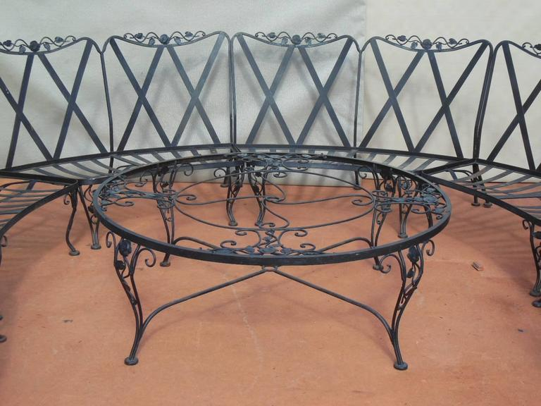 Woodard Patio Set Chantilly Rose Pattern 11 pieces Wrought Iron at 1stdibs