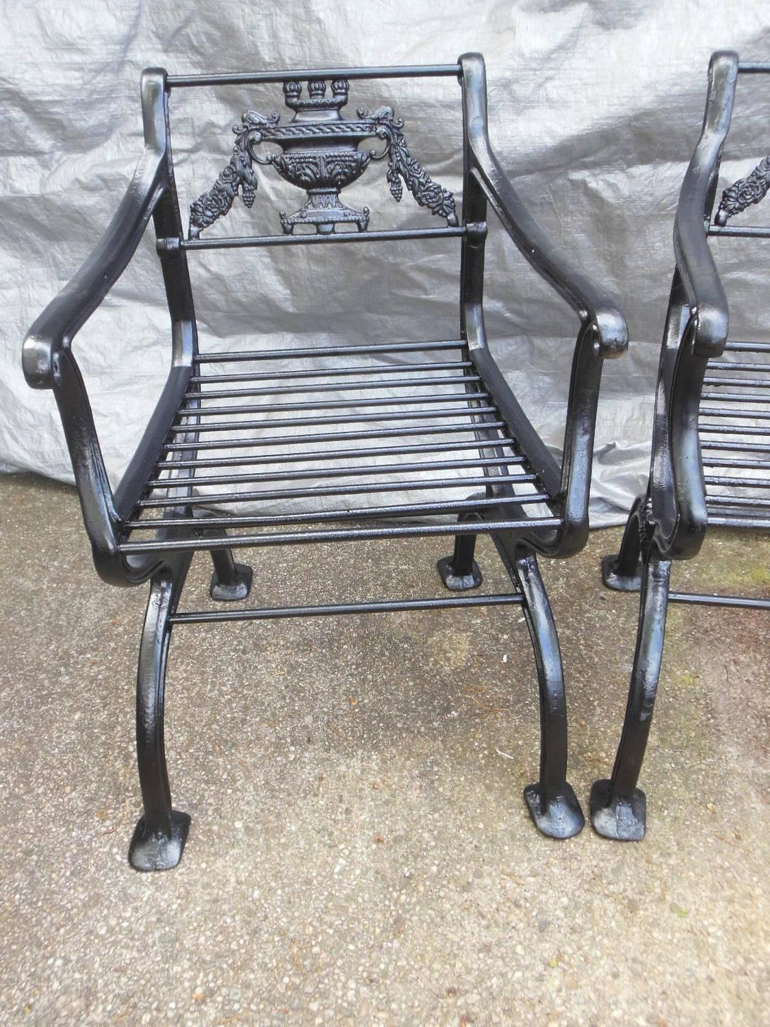 Antique Cast Iron Regency Garden Set Bench And Chairs For Sale At 1stdibs