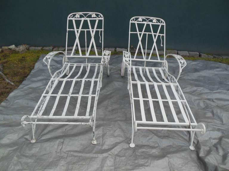 Salterini Chaise Lounges Mt Vernon Pattern in Wrought Iron 4 available For