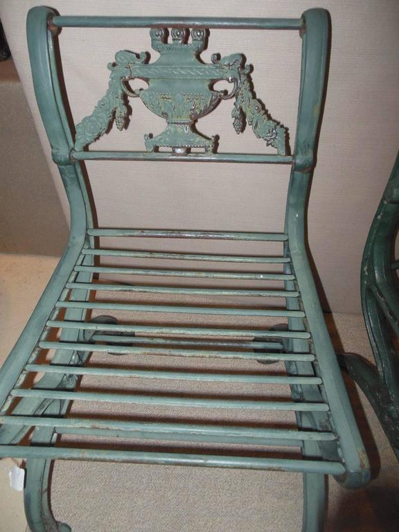 Cast Iron Regency Bench And Pair Of Chairs For Sale At 1stdibs