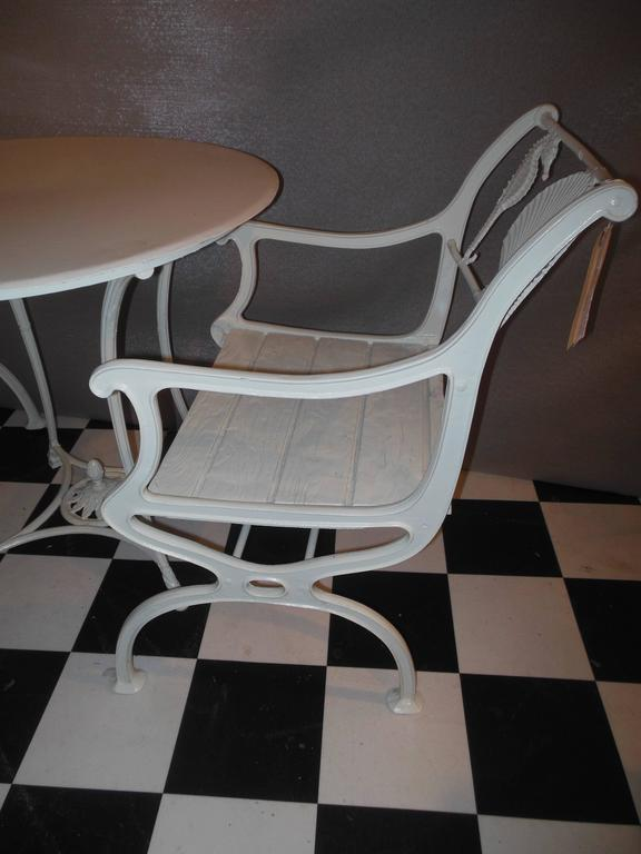 Bistro Set, Cast Iron Table and Chairs with Shell & Sea Horses For Sale 1