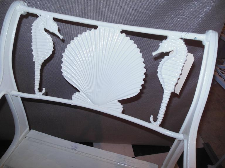 Folk Art Bistro Set, Cast Iron Table and Chairs with Shell & Sea Horses For Sale