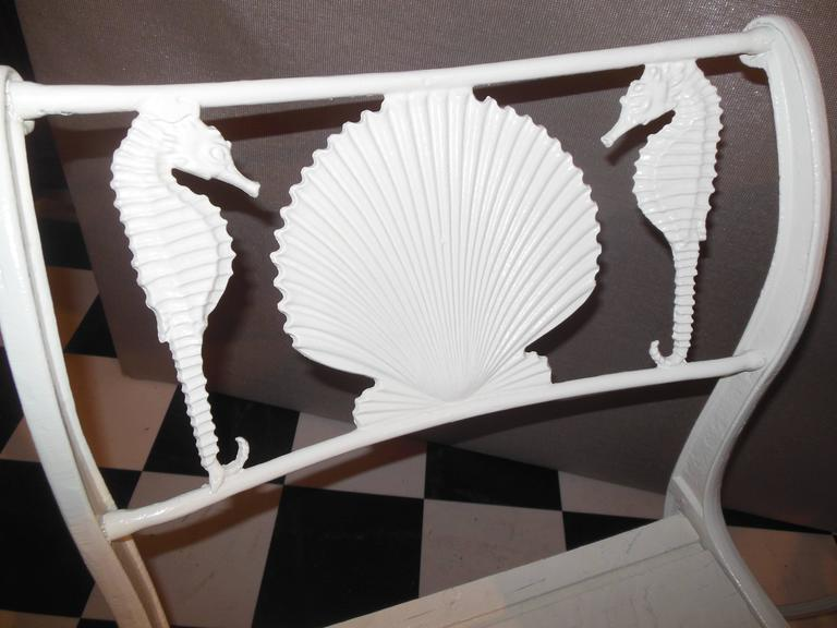 American Bistro Set, Cast Iron Table and Chairs with Shell & Sea Horses For Sale