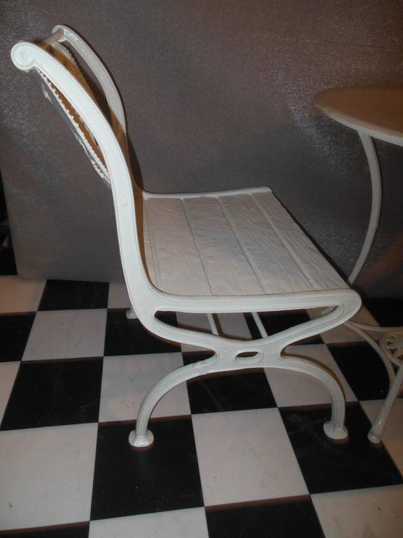 Early 20th Century Bistro Set, Cast Iron Table and Chairs with Shell & Sea Horses For Sale