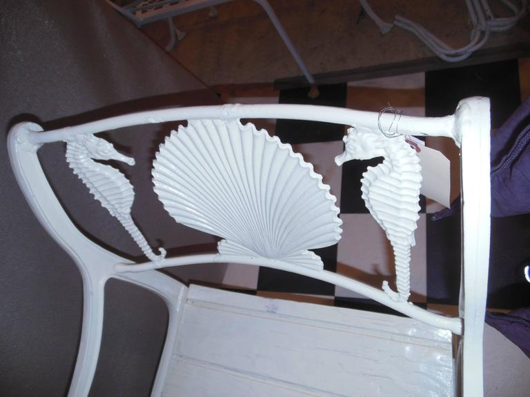 Bistro Set, Cast Iron Table and Chairs with Shell & Sea Horses For Sale 2