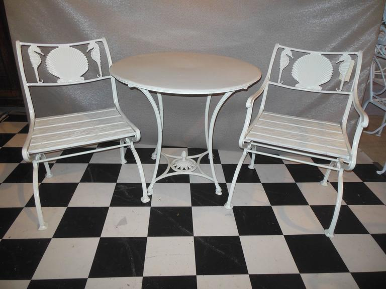 Bistro Set, Cast Iron Table and Chairs with Shell & Sea Horses For Sale 3