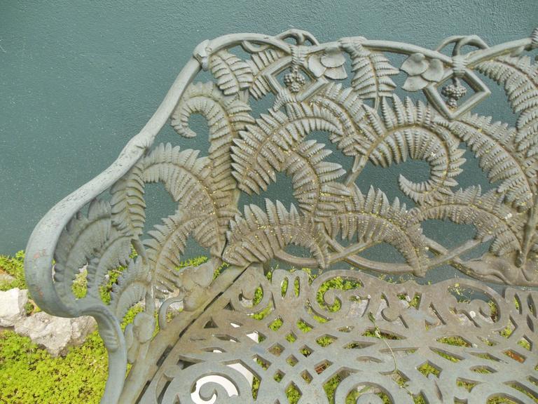 Garden Bench Fern Pattern Antique Cast Iron For Sale At