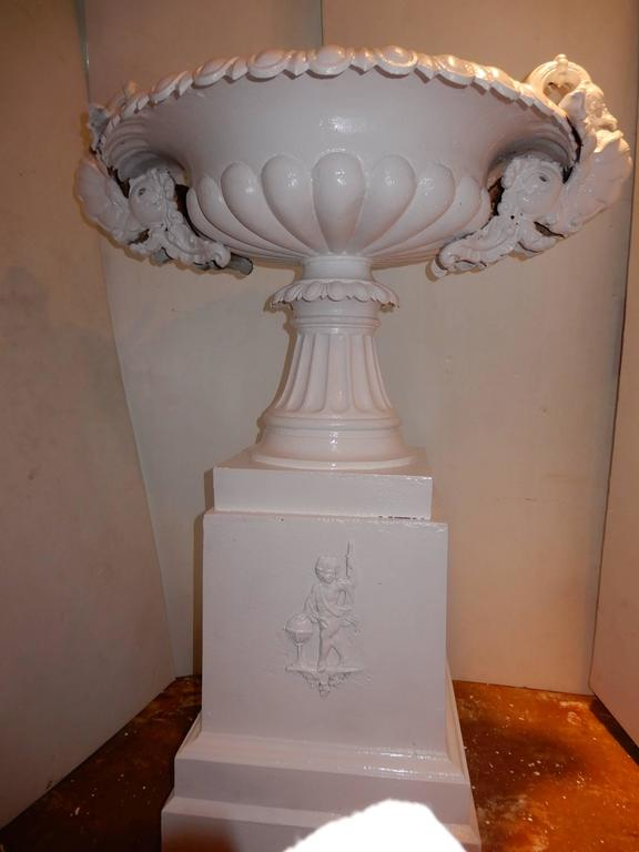 Late 19th Century Garden Urn, Tall Victorian Cast Iron For Sale