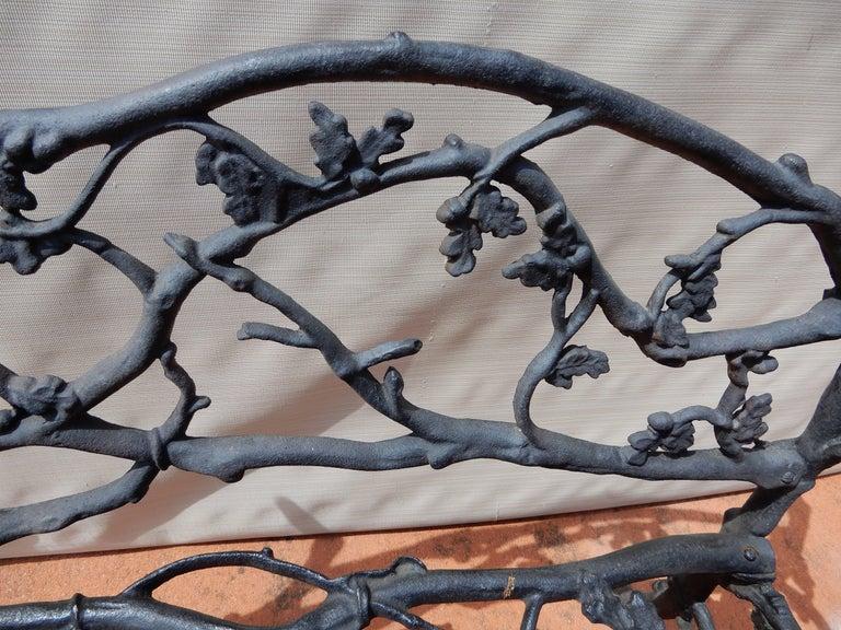 Folk Art Garden Bench, Cast Iron in Twig or Rustic Pattern For Sale