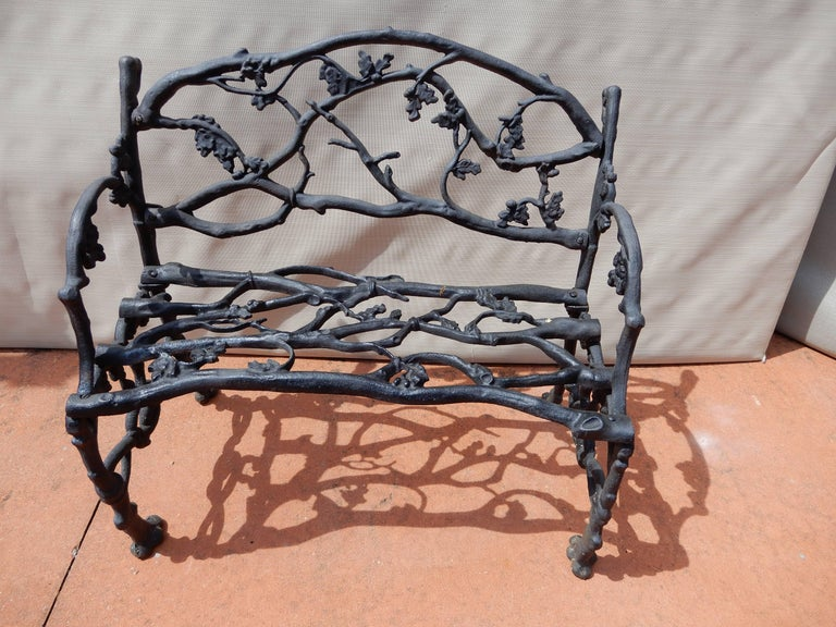 American Garden Bench, Cast Iron in Twig or Rustic Pattern For Sale