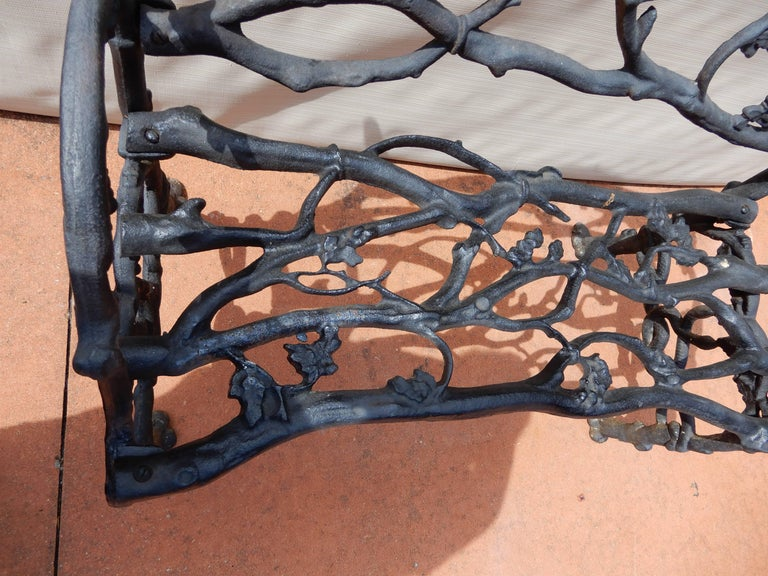 Garden Bench, Cast Iron in Twig or Rustic Pattern In Excellent Condition For Sale In Long Island, NY