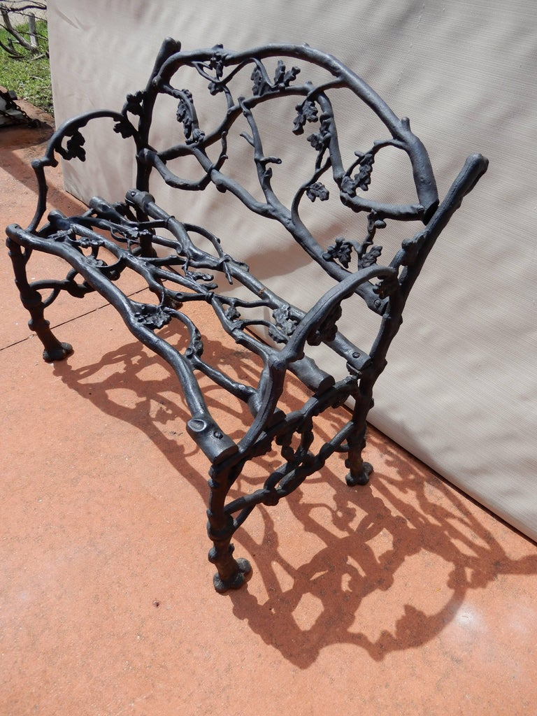 Early 20th Century Garden Bench, Cast Iron in Twig or Rustic Pattern For Sale
