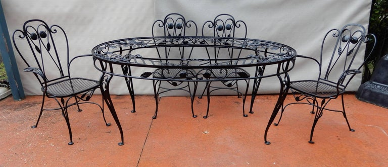 Salterini Patio Dining Set, Wrought Iron Seven Pieces For
