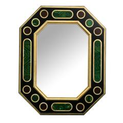 Jean Roger Faux Malachite and Ivory Wall Mirror