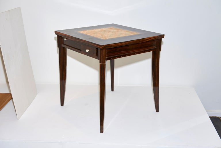 Clement Rousseau Macassar Games Table with Shagreen Top In Good Condition For Sale In Los Angeles, CA