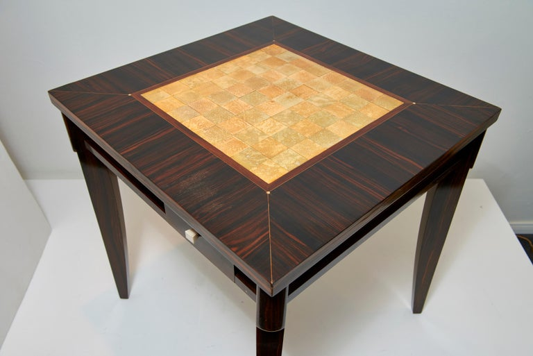 20th Century Clement Rousseau Macassar Games Table with Shagreen Top For Sale