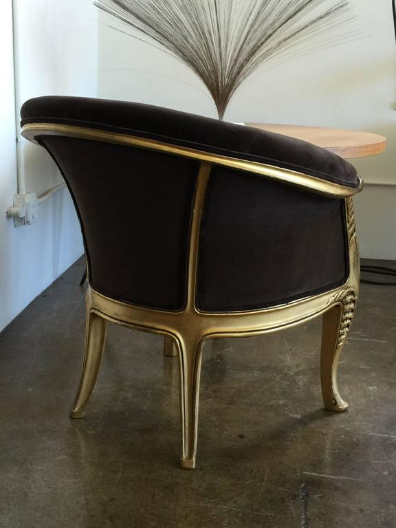 A beautiful Durene chair. Reupholstered in a chocolate brown velvet.
