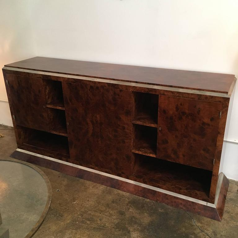 Jacques Adnet Chrome-Mounted Credenza 2