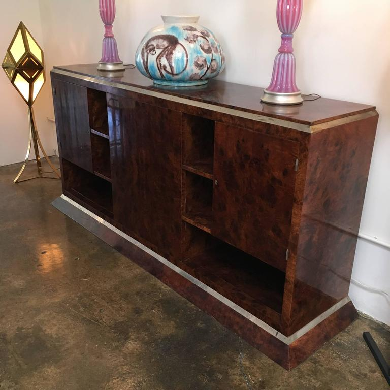 Jacques Adnet Chrome-Mounted Credenza 3