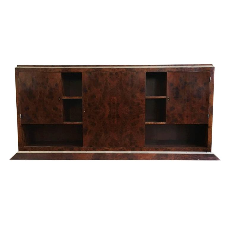 Jacques Adnet Chrome-Mounted Credenza 1